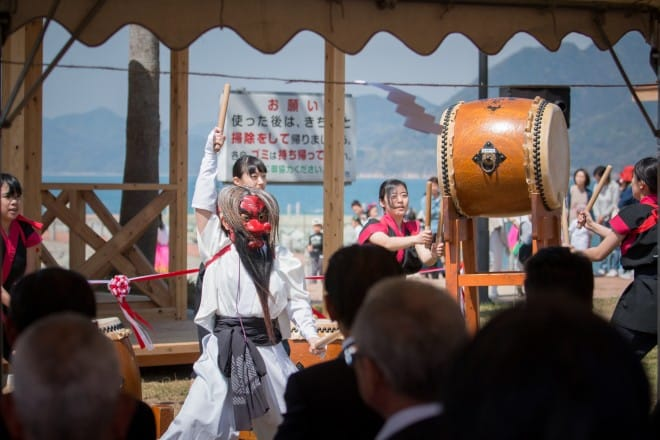 県立伯方高等学校の和太鼓演奏