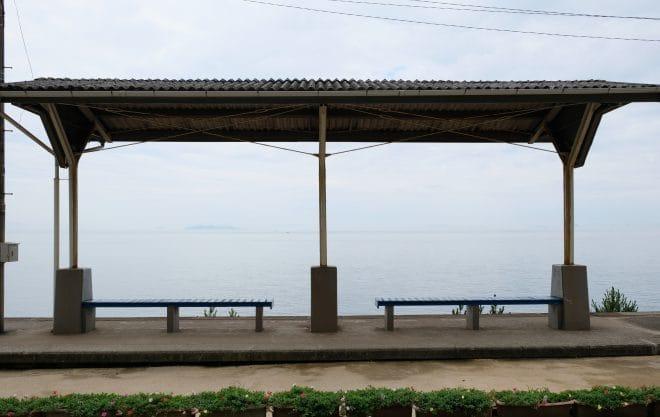 下灘駅曇りの日