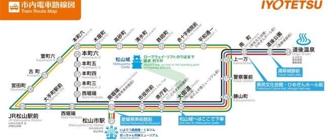 松山市内路面電車_路線図