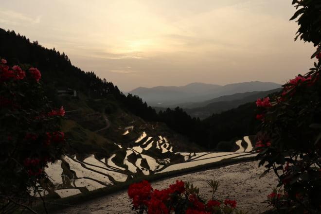 棚田と夕日2