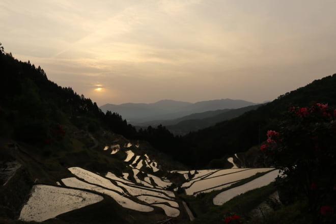 棚田と夕日4