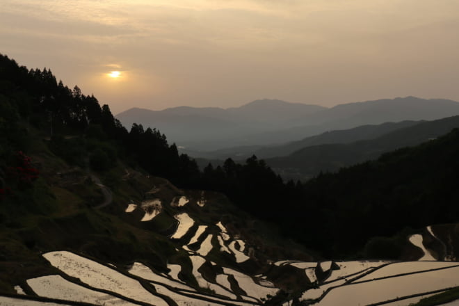 棚田と夕日5