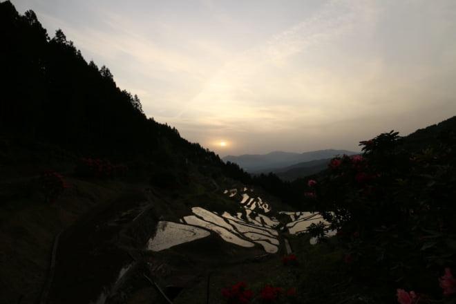 棚田と夕日9