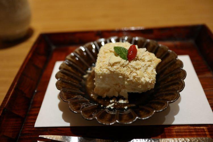 懐石、おか多 料理 豆乳のレアチーズケーキ
