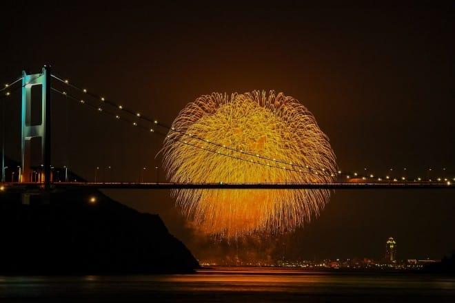 しまなみ海道とおんまく花火