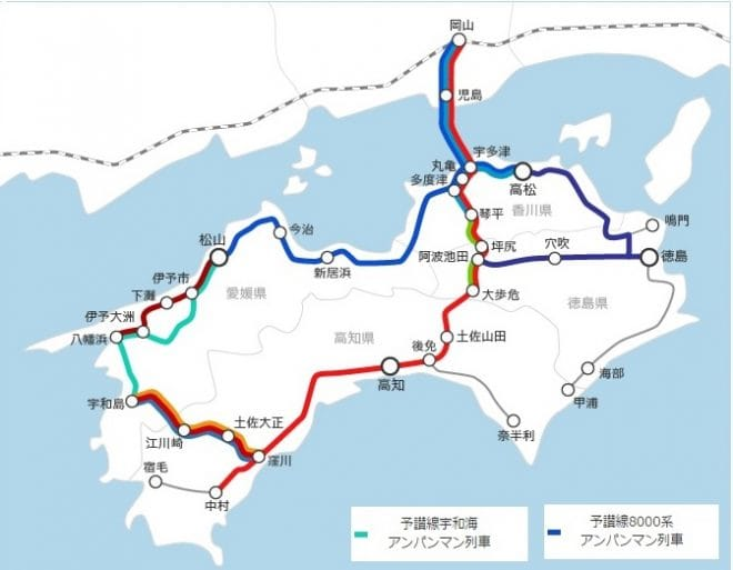 JR四国簡易路線図