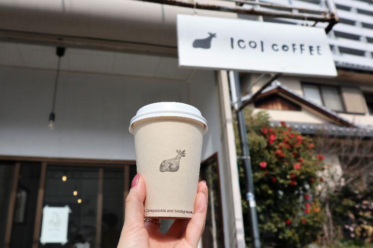 イコイコーヒー カップと看板