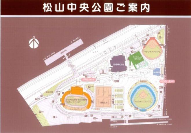 松山中央公園の全体図 駐車場