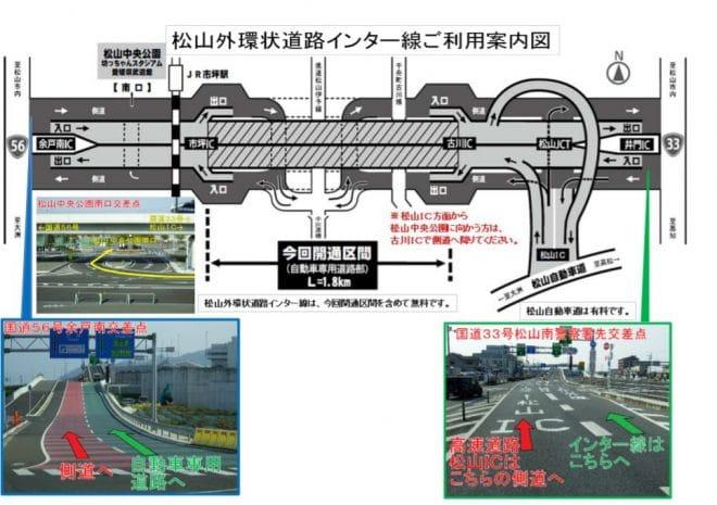 松山外環状道路インターからのアクセス